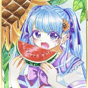 スイカを食べる少女🍉原画