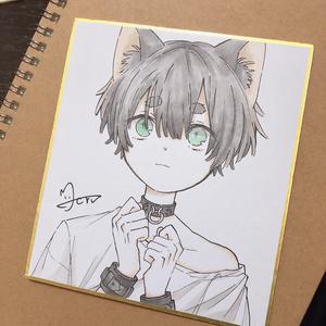 ミニ色紙 黒猫