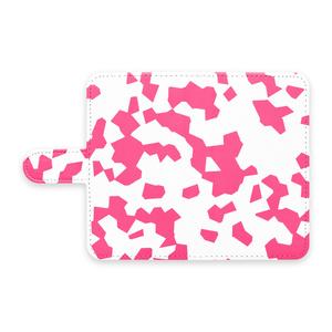 手帳型Androidケース 斑模様ピンク