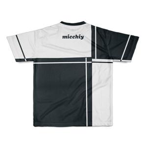 Tシャツ半袖 バイカラー格子ホワイトーブラック14023102