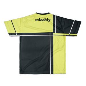 Tシャツ半袖 バイカラー格子イエローブラック14022804