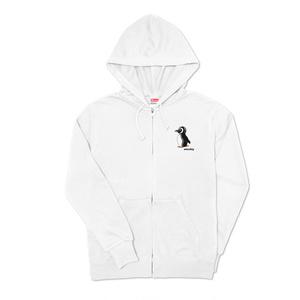 長袖ジッパーパーカ ホワイト ペンギン