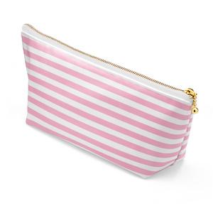 コスメポ―チ ボーダ柄ピンク