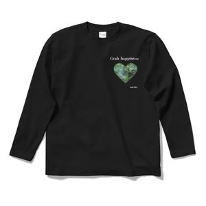 長袖ブラックTシャツ クローバーハート Grab happiness  14465633