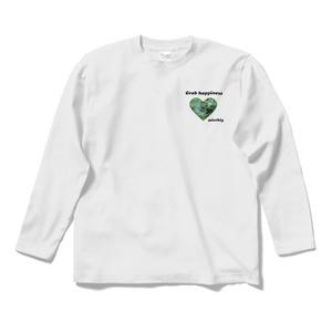 長袖Tシャツ ホワイト クローバーハート Grab happiness 14466138