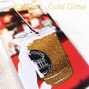《SALE》グリッターiPhoneケース/コーヒーショップ