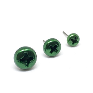 ScrewCapスタッドピアス-アルミ緑色(左右1セット)