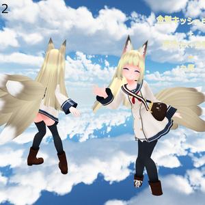 【Ver.2.10】スキニング済み3Dモデル「空々式 狐耳尻尾」【キッシュちゃん向け】