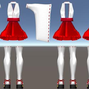 スキニング済み3D衣装「空々神社巫女服1(胸メッシュ付)」