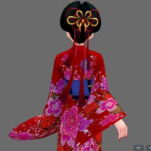 【Vroid】着物セット(女性・女装用/全24色+帯・小物付)