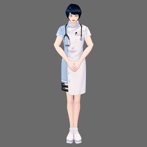 【Vroid】アシンメトリーナース服(男女兼用/全8色)