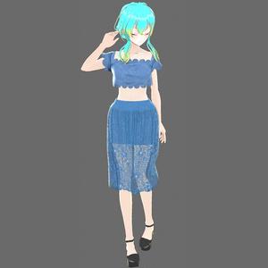 【Vroid】レースセパレートドレス(7色入り)