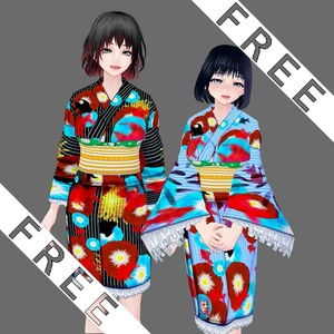 【Vroid】THX1000↑❤FREE浴衣(YUKATA)