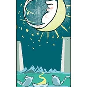 白いスナネズミのタロット ポーチ色青