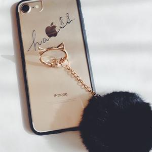 猫耳スマホリング 一体型iPhoneケース◎ぽんぽんファー付き