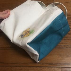 FF5・DFFバッツ絵入り自家製ミニトートバッグ(青)ポストカード3枚つき