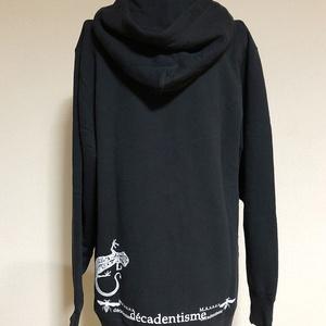 『ヤモリ』ダブルZIPパーカー ブラックXL
