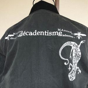 『ヤモリ』MA-1ジャケット ブラック×ホワイトインク M・L