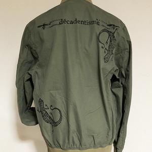 『ヤモリ』MA-1ジャケット カーキ×ブラックインク L