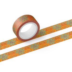 植物曼荼羅アートマスキングテープ(オレンジ×グリーン系)