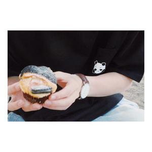 ぽけぽけまろぱんTシャツ(BLACK)
