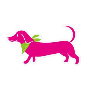 ピンクのミニチュアダックス ステッカー