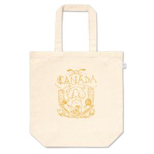 メイプルな手描きのロゴ風トートバッグ(初秋の葉の色)