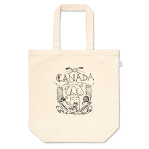 メイプルな手描きのロゴ風トートバッグ(黒)