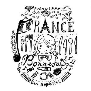 美食家の手描きのロゴ風トートバッグ