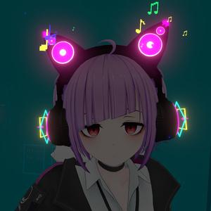 音符溢れ出て光る猫耳ヘッドホン(パーティクル・アニメーション設定済み)