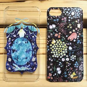 iPhone7 ハードケース【ペンギンアクアマリン】【動物と花】