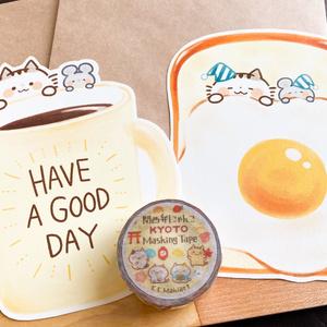 下書き メッセージカード&マスキングテープセットB『野性を忘れた猫と目玉焼きトースト』