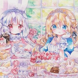 キラキラポストカード「お茶会」