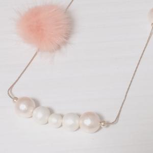 コットンパールとファーのロングネックレス【ピンク】