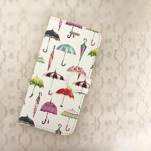 レトロな傘の手帳型スマホケースB