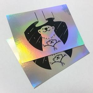 ホログラム箔のシロクマステッカー