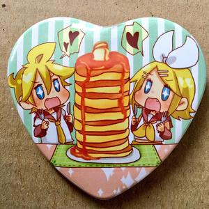 リンレンホットケーキ缶バッチ(ハート)
