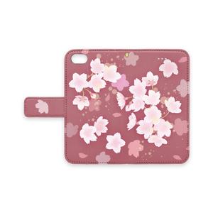 ストラップ穴(有/無) 手帳型iPhoneケース 桜 SAKURA (薄紅-うすくれない-)