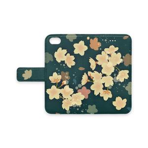ストラップ穴(有/無) 手帳型iPhoneケース 桜 SAKURA (大正浪漫-たいしょうろまん-)