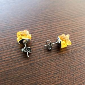 【天然石】 シトリンの黄薔薇ピアス