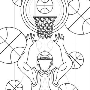 【無料ぬりえ用線画イラスト】Basketball girls/Basketball boy