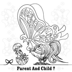 【無料ぬりえ用線画イラスト】PARENT AND CHILD?
