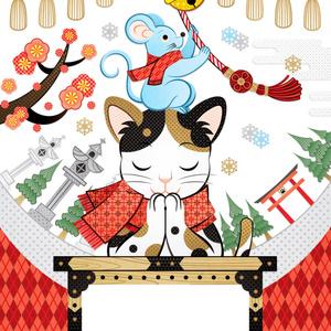 2020年・令和2年子年無料イラスト年賀状デザイン「鼠と猫とで初詣」謹賀新年&汎用素材