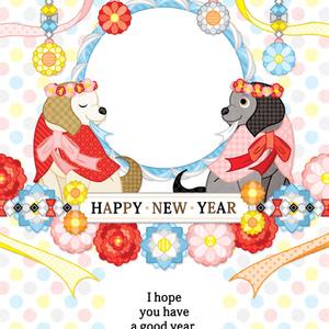 2018年戌年完成年賀状無料テンプレート(FLORAL DOG HAPPY NEW YEAR)一般&写真フレーム年賀状