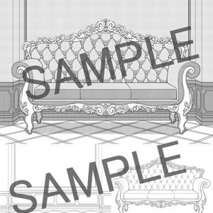 フリー素材 ソファ+背景 線画