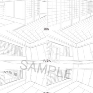 フリー素材 和風背景線画