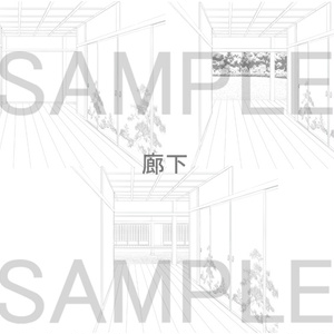 フリー素材 和屋敷背景 線画
