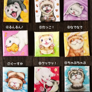 フェレット缶バッジ&マグネット「Ferret's Happy time!」/ Ferret Can Badge&Magnet