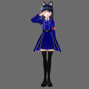 基本色無料『VRoid&セシル変身』軍服各色(ニーハイソックス&ブーツ付き)