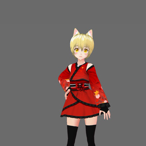 『VRoid&セシル変身』着物ドレス 赤 青『ワンピース用テクスチャ』